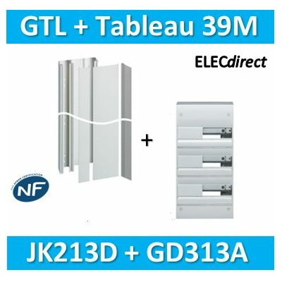 Hager - Kit GTL 13 Modules - 2 couvercles - 2x1,3m + tableau 39M - JK213D+GD313A