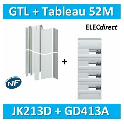 Hager - Kit GTL 13 Modules - 2 couvercles - 2x1,3m + tableau 52M - JK213D+GD413A