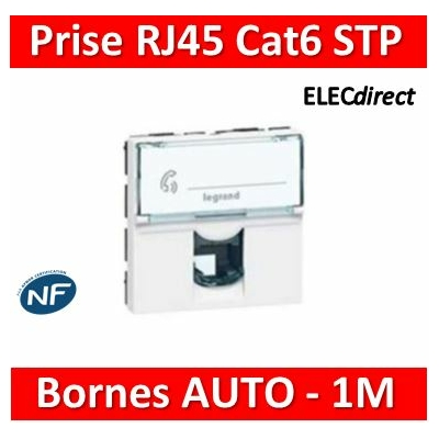 Legrand Prise RJ 45 Prog Mosaic - Cat.6 - STP - Blindage métal - 2 mod - blanc - LCS² 076566