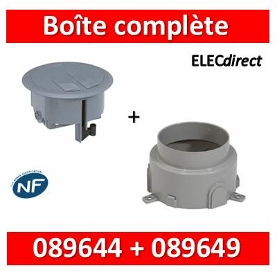 Legrand - Boîte de sol 3 modules H. minimum 80 + boîte d'encastrement béton - 089644+089649