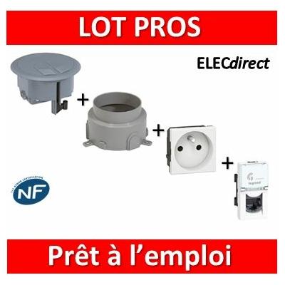 Legrand - Boîte de sol complète + Prise 2P+T + Prise RJ45 1M Cat6 - 089644+089649+077111+076563