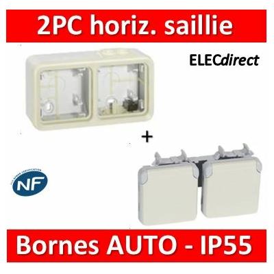 Legrand Plexo - Double prise de courant 2P+T 16A 230V horizontal - IP55/IK07 - blanc - 069642+069690