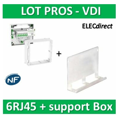 Schneider - Coffret VDI Grade 2 LexCom ECO-PACK 6 RJ45 + support Box - VDIR390024+828080