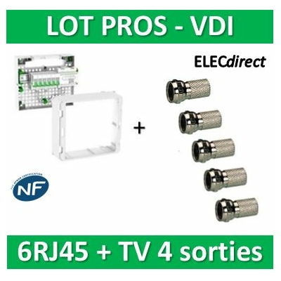 Schneider - Coffret VDI Grade 2 LexCom ECO-PACK 6 RJ45 - VDIR390026+5 fiches F