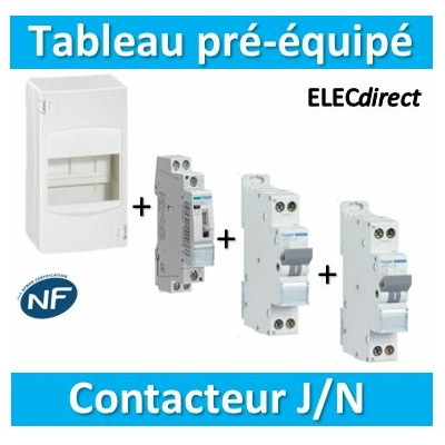 Hager - LOT PROS - Coffret 4 modules pré-équipé Legrand - contacteur J/N + protection 2A + 20A
