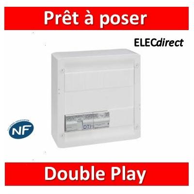 Legrand - Coffret Double Play avec brassage - 13 modules - 4 prises RJ 45 + répartiteur TV - 413228