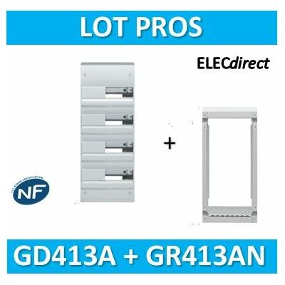 Hager - Coffret GAMMA 52 Modules - 4 Rangées de 13M + rehausse - GD413A+GR413AN