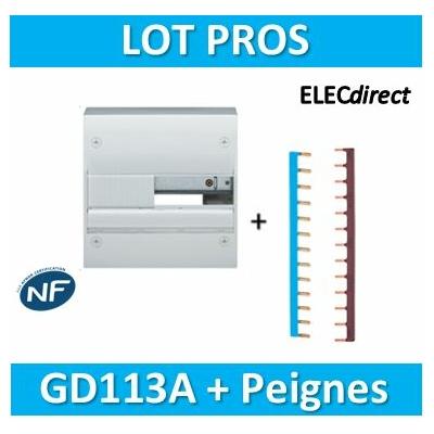 Hager - Coffret GAMMA 13 Modules - 1 R de 13M + Peignes Ph+N - GD113A+KB163P+KB163N