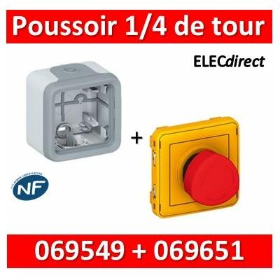 Legrand Plexo - Coupure d'urgence 3A - complet + boîte saillie Plexo - 250V - IP55 - 069549+069651