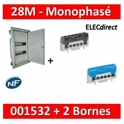 Legrand - Coffret encastré - porte métal - 2 rangées - 24+4M + bornes PH+N - 001532+004816+004815