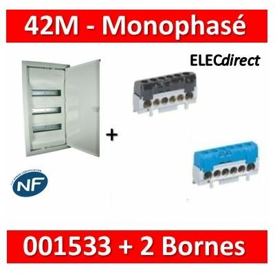 Legrand - Coffret encastré - porte métal - 3 rangées - 36+6M + bornes PH+N - 001533+004816+004815