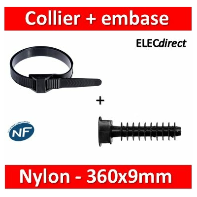 Ram - Collier de fixation nylon - noir - 360x9 + Embase D.8mm - Collier x100+Embase x100