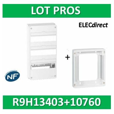 Schneider - LOT PROS - Coffret électrique RESI9 39 modules - 3R de 13M + rehausse - R9H13403+R9H10760