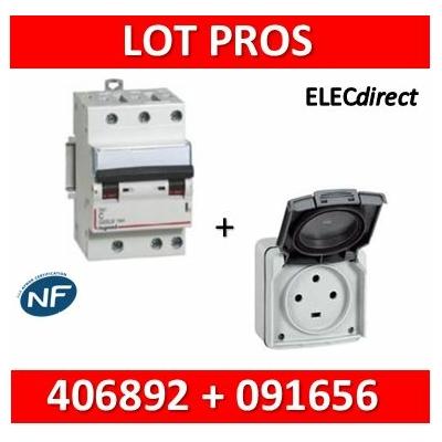 Legrand Plexo - Prise de courant 3P+T 20A + Protection 16A Legrand - IP55/IK08 - 091656+406892