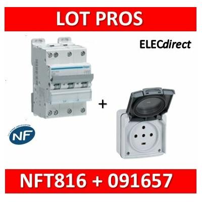 Legrand Plexo - Prise de courant 3P+N+T 20A + Protection 16A Hager - IP55/IK08 - 091657+NFT816