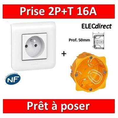 Legrand Mosaic - Prêt à poser - Prise 2P+T 16A complet + boîte batibox 1 poste Prof. 50mm
