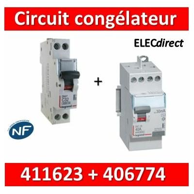 LEGRAND - Interrupteur Différentiel 2P - 40A - 30ma Type HPI + DPN 16A Départ Haut - 411623+406774