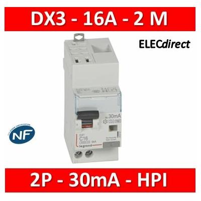 Legrand - Disj diff DX³ 4500 - auto/vis- U+N 230V~ 16A - type Hpi - 30mA - 6kA - courbe C - 2M - 410761