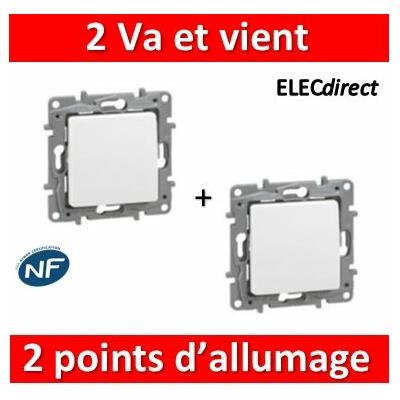Legrand Niloé - 2 Va et Vient 10A - 2 points d'allumage - Blanc - 664701x2