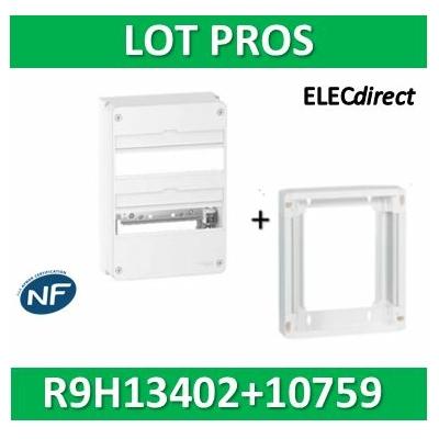 Schneider - LOT PROS - Coffret électrique RESI9 26 modules - 2 rangées de 13M + rehausse - R9H13402+R9H10759