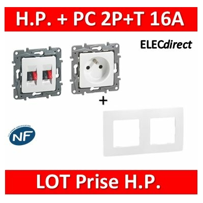 Legrand Niloé - Prise de courant 2P+T 16A + Prise Haut parleur + plaque - Blanc 664735+665002+664781