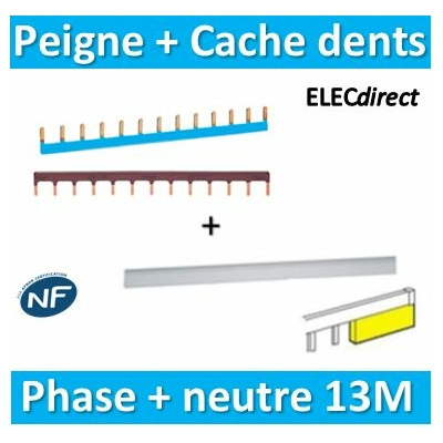 Hager - Peigne d'alimentation 13M Phase+Neutre + Cache dents Legrand - KB163P+KB163N+404988