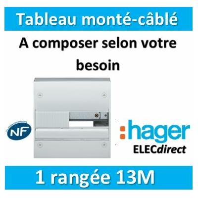 Hager - Tableau monté-câblé 1 rangée 13 modules à composer