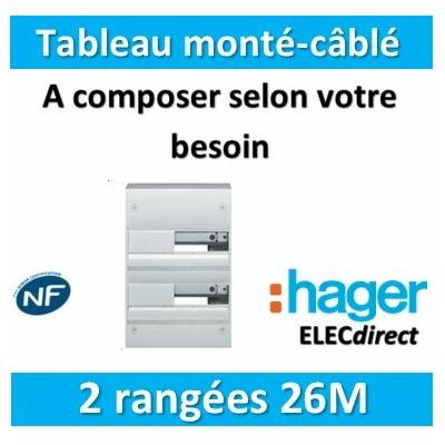 Hager - Tableau monté-câblé 2 rangées 26 modules à composer
