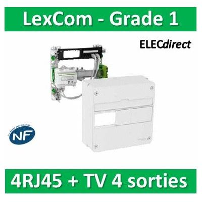 Schneider - LexCom Home - coffret de communication ECO-PACK - grade 1 - 4 RJ45 - 1 rangée - VDIR390014