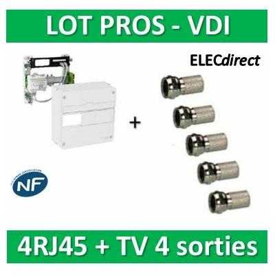 Schneider - LexCom Home - coffret de communication - grade 1 - 4RJ45 + 5 fiches F - VDIR390014+5 fiches F