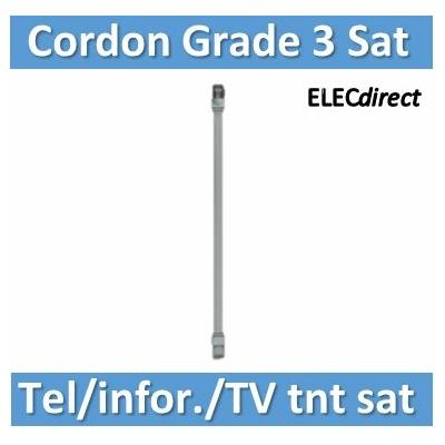 Tonna - Cordon grade 3 - Sat - Téléphonie/Informatique/TV TNT+Sat) RJ45 / RJ45 - l. 0,4m noir - 828615