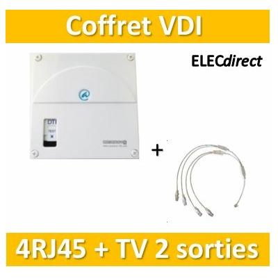 Casanova - Coffret VDI Grade 1 avec brassage - 4 RJ45 - 2 TV - TRIETG14X4