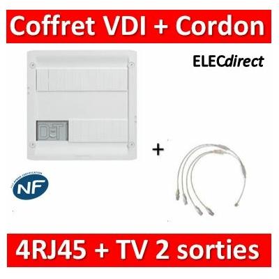 Legrand - Coffret VDI GRADE 1 et 2 avec brassage + cordon 1RJ45/4Rj45 - 4 RJ45 - 413218+828618