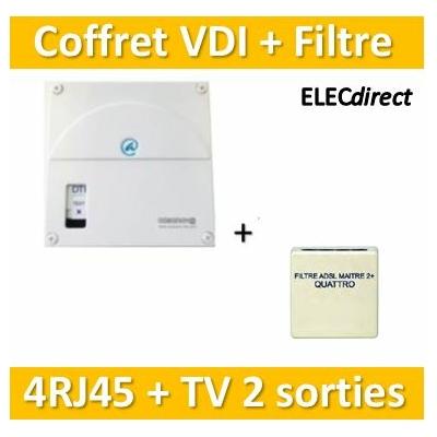 Casanova - Coffret VDI Grade 1 avec brassage - 4 RJ45 - 2 TV + Filtre ADSL - TRIETG14X4+828690