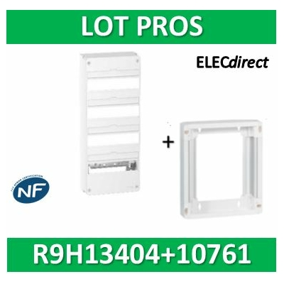 Schneider - LOT PROS - Coffret électrique RESI9 52 modules - 4R de 13M + rehausse - R9H13404+R9H10761
