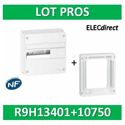 Schneider - LOT PROS - Coffret électrique RESI9 13 modules - 1R de 13M + rehausse - R9H13401+R9H10750