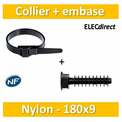 Sapiselco - Collier de fixation nylon - noir - 180x9 + embase D.8mm Ramspot - Collier x100+Embase x100