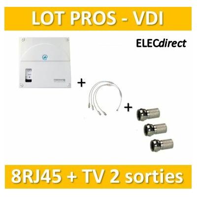 Casanova - Coffret VDI Grade 1 avec brassage - 8 RJ45 - 2 TV - TRIETG14X8+3 fiches F