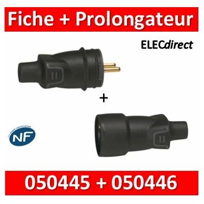 Legrand - Fiche + prolongateur 2P+T 16A - caout - IP44 / IK08 - sortie droite - 050445+050446