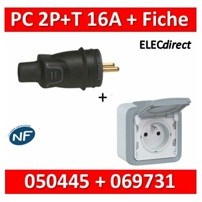 Legrand - Fiche 2P+T 16A IP44 sortie droite + PC 2P+T 16A Plexo - 050445+069731