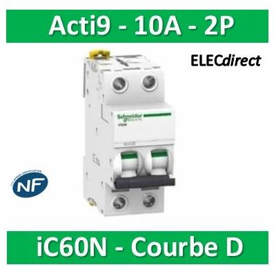 Schneider - Acti9-IC60N Disjoncteur 2P - 10A Courbe D - A9F75210