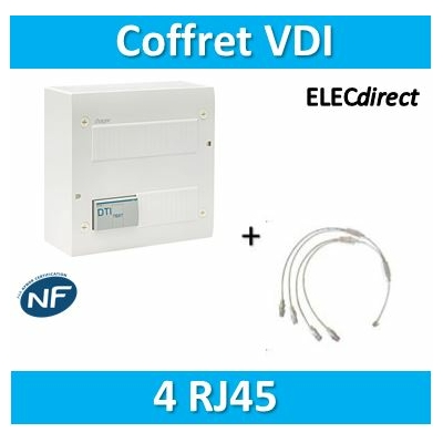 Hager - Coffret de communication ECO 4XRJ45 - 2 TV - TN305