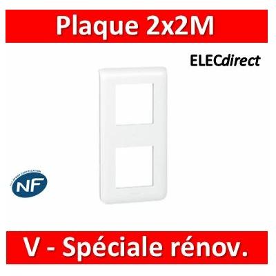 Legrand Mosaic - Plaque 2 x 2 modules - 2 postes (4M) - pour rénovation - en. 57mm - vertical - 078854