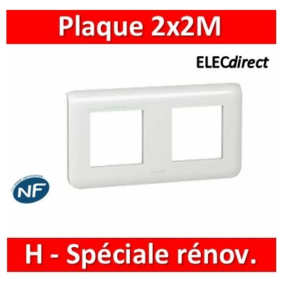 Legrand Mosaic - Plaque 2 x 2 modules - 2 postes (4M) - pour rénovation - en. 57mm - horizontal - 078864