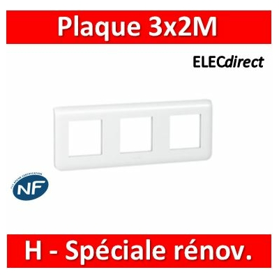 Legrand Mosaic - Plaque 3 x 2 modules - 3 postes (6M) - pour rénovation - en. 57mm - horizontal - 078866