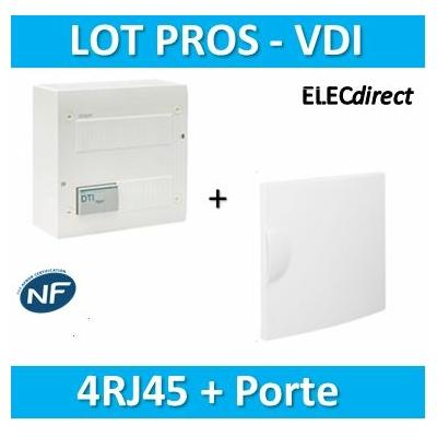 Hager - Coffret de communication 4XRJ45 + porte - TN302+GP113P