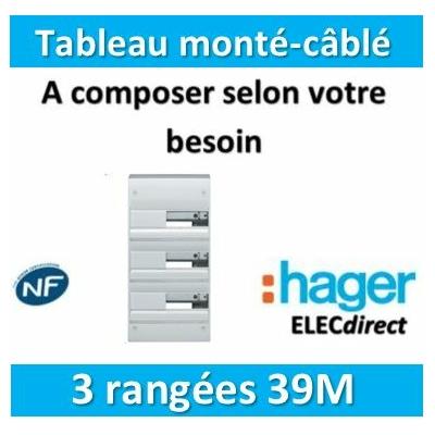 Hager - Tableau monté-câblé 3 rangées 39 modules à composer