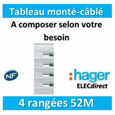 Hager - Tableau monté-câblé 4 rangées 52 modules à composer