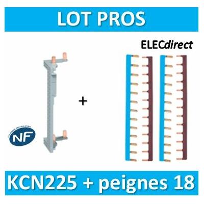 Hager - Répartition vertical 2 R + peigne d'alimentation 18M - KCN225+KB163NGx2+KB163PGx2