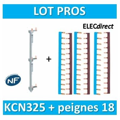Hager - Répartition vertical 3 R + peigne d'alimentation 18M - KCN325+KB163NGx3+KB163PGx3